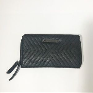 Nicole Miller Black Quilt Double Zip Wallet Clutch